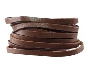 """5 Yds - 1/4"""" Dark Brown Genuine Leather Strap - Premium Quality Genuine Leather - 1/4 Inch (6mm) Flat Leather Strip - 5-6 Ounce Weight"""