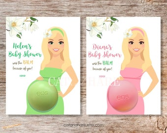 EOS Lip Balm Baby Shower Favors Personalized Gift Tags Thank You Favors Blonde Pregnant Mom to Be PRINTABLE