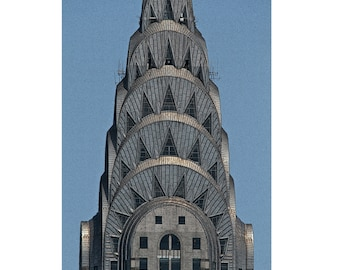 Chrysler Building Manhattan New York City Photograph Urban Art Deco Color Architecture Photograph Wall Art Print Home Decor 6X9