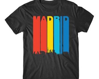 Retro 1970's Style Madrid Spain Cityscape Downtown Skyline T-Shirt