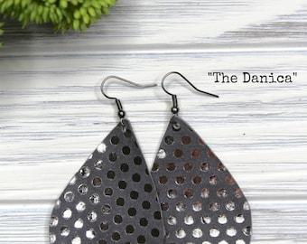 Gray Leather Earrings| Leather Earrings| Teardrop Earrings| Silver Polka Dots| Dangle Earrings|  Leather Gift