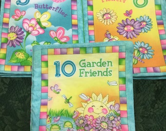 """Cloth Book Baby/Toddler """"10 Garden Friends"""" Teaching little Ones to Count"""