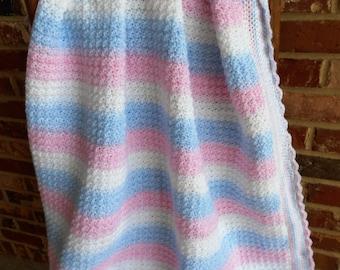 Crochet Baby Blanket, Pastel Stripes Afghan, Baby Girl Afghan, Baby Boy Afghan, New Baby Blanket, Pink and Blue Afghan