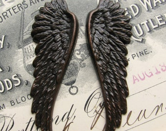"Fallen Angel Brass Wings ""Seraphim"" 53mm, 2 black angel wings, aged black oxidized patina, guardian angel, dark ornament, large big textured"