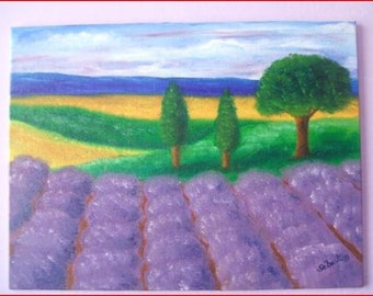 'Lavender field' on canvas Board