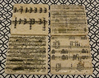 Sheet Music Marble Tile Coasters - Set of 4