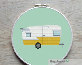 cross stitch pattern travel trailer, vintage, camping,  PDF,  ** instant download**
