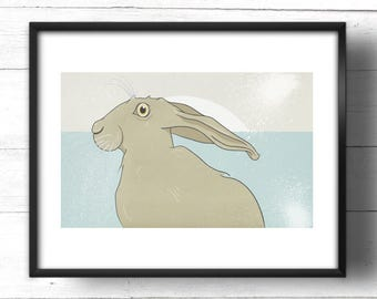 Golden Hare No.13 - A3 Print - Wild Hare with Moon, based on Golden Ratio / Golden Section and Fibonacci Sequence