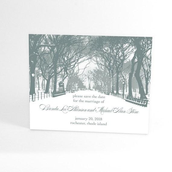 winter save the date cards winter wonderland wedding city