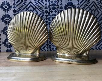 Brass Shell Bookends