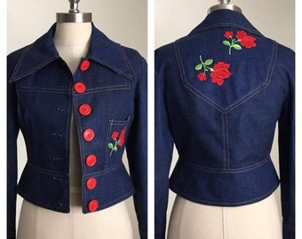 30% Off Sale 70s Gimbel's Cropped Denim Jacket with Embroidered Roses, Size XS to Small