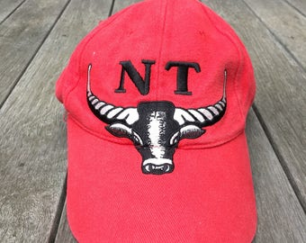 Vintage 90's Embroidered Northern Territory Australia Bull's Head Red Hipster Dad Souvenir Strap Back Cap Retro Summer Festival Strap Cap