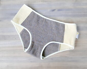 Cashmere hipsters panties - taupe and yellow - machine washable in cold water - washable in cold water