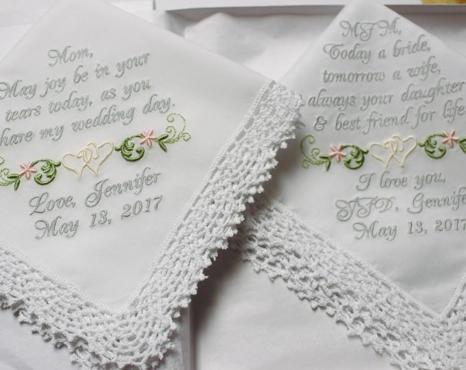 Two Custom Embroidered Wedding Handkerchiefs for Mother of the Bride Personalized in Your Wedding Colors