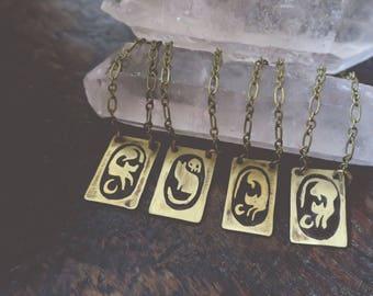 Feline Familiar - brass necklace