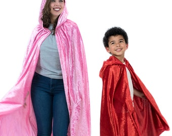 Hooded Cloak - Kids and Adult Cape with Hood - Choose Your Color, Cosplay Dress Up Hooded Cloak, Red Riding Hood, Harry Potter Cloak