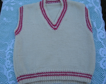 Hand Knitted Vest - Gorgeous White/Cream with Pink Detail for Girl aged around 4 years