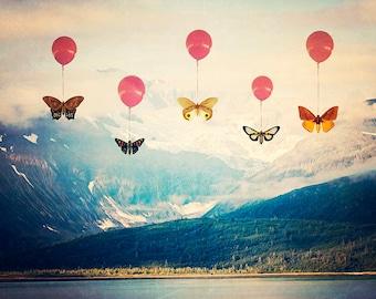 Mountain Balloon Butterflies - 8x10 photograph - Nature Art - fine art print - vintage style photography - butterfly art