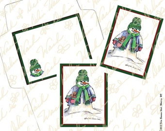 Snowman Note Card & Envelope Set 2 - Digital Stationery - Instant Download - Printable Files - JPG + PDF Formats