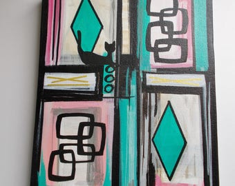 """Small Painting 9"""" X 12"""" Mid Century Modern Abstract Shapes Retro Style Kitty Turquoise Pink Black Diamonds"""