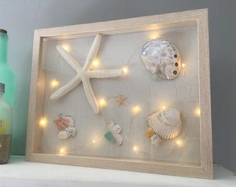 Shadowbox - Beach themed with fairy lights
