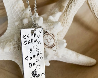Keep Calm & Surf On   Beach Jewelry   Turtle Necklace   Beach Necklace   Hand stamped   Ocean Turtle   Sea Turtle   Necklace   Beach Life