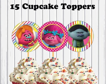 Trolls Printable Digital 15 Cupcake Toppers 15 Different Characters INSTANT DOWNLOAD