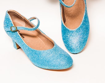 """Glitter - 2"""" Mediterranean Blue Character Shoes Heels for Theatre, Dance and Performance by Princess Pumps"""