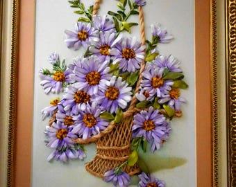 Blue daisy Daisy embroidery Embroidery flowers Daisy painting White daisy Daisy wall decor Daisy home decor Daisy gift Daisy wall art ВШ1к10
