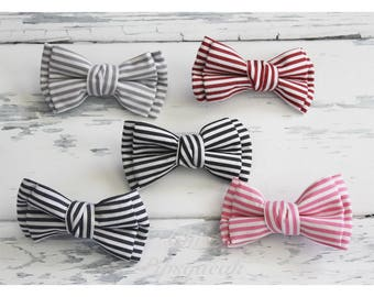 Baby Headband, Baby Bow, Pigtail Bows, Nylon Headband, Stripe Bow Headband, Double Bow, Nylon Baby Headband, Hair Clip, Nylon Headband Bow