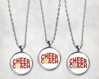 Cheer Coach Necklace, Cardinal Red and Bright Gold Cheer Pom Pendant, Glass Cabochon Cheer Jewelry, Vegas Gold Cheer Charm, School Spirit