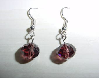 Dangling earrings faceted transparent glass beads