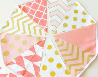 Fabric Banner Bunting Metallic Gold, Pink, Coral, Pennant Flags, Glitter Gold Wedding Party Banner, Photo Prop, Baby Nursery Decor, Birthday