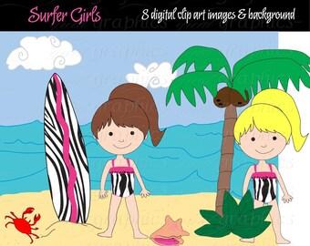 Surfer Girl Digital Clip Art Surfboard Clipart Palm Tree Digital Paper Kid Party Paper Instant Download