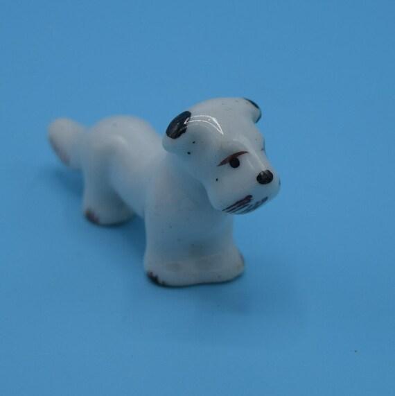 Ceramic Miniature Dog Figurine Vintage Japan Mini Dog Spot Gift for Her Dog Lover Dog Collectible Mid Century Porcelain Dog Figure