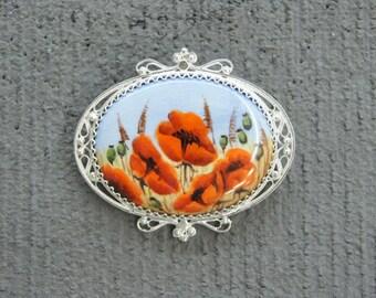 Russian brooch Rostov enamel Finift  hand made new