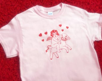 Lolly Dolly the Devil Cherub and the Devil Lamb -  White or Pink Tees / T Shirt - Unisex Sizes