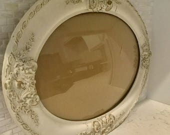 Large Antique Gilt Gesso Oval Picture Frame convex Glass Painted White Shabby