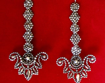 Pair of 3 1/2-Inch Turn of The Century Cut-Steel Earrings
