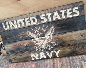 Carved United States Navy Pallet Sign