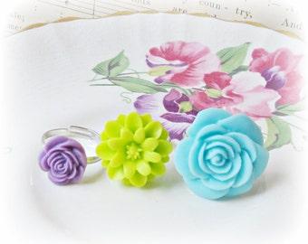 Girls Ring Set Adjustable - Pastel Floral Botanical Bonbonniere - Blue Green Purple Lime Aqua - For Kids Gift