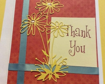 25%offJuneSale Thank You handmade greeting card handmade Thanks  card with yellow flowers on orange  background blue ribbon