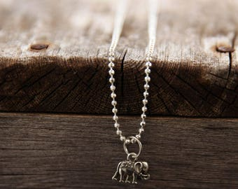 Elephant Necklace, SILVER necklace, dainty necklace, everyday necklace, for Mother's Day long silver necklace, simple necklace, Sister Gift