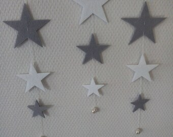 Gray and White Star mobile with silver beads
