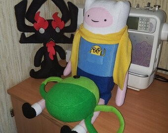 Adventure Time fleece Finn and Jake toy. Plush toy Finn the human. Gift for kids