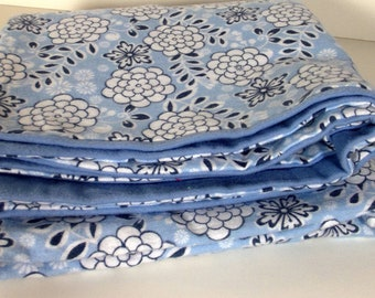 Blue and Grey Flowers Baby Blanket