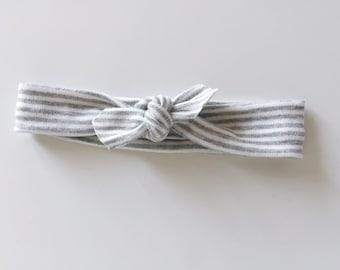 Striped Organic Cotton Knotted Headband/ Infant Headband/ Toddler Headband/ gray and white headband / pinstripe headband / baby girl bows