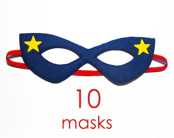 10 felt Superhero Masks party pack for kids SALE - Dress Up play costume accessory package - Birthday gift for Boys Girls - Theatre roleplay