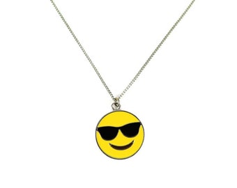 Cool Guy Sunglasses Enamel Emote Face Charm Necklace