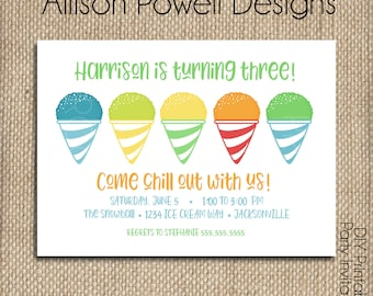 Snowball Birthday Party Invitation, Snowcone Birthday Party Invitation - Print your own - Printed